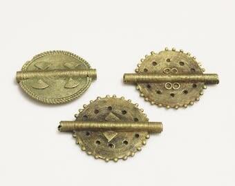 3 African Brass Focal Bead Pendants, Ethnic Beads, Tribal Jewelry Supplies (AL261)