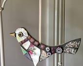 Vintage China Mosaic Hanging Bird Ornament, Retro, Broken china, Birthday gift, ladies gift, love bird, romantic, home decor, home accent