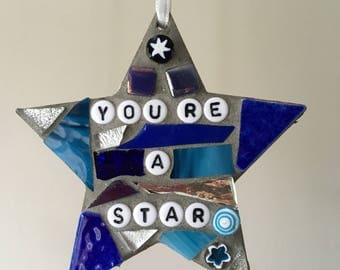 Mosaic Hanging Star Ornament, You're a Star, home decor, gift for him/her, thank you gift, small gift, best friend, blue, silver, white,