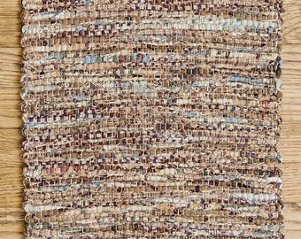 """Hand Woven Country Brown Blue Patchwork Table Runner - 15"""" x 30"""""""