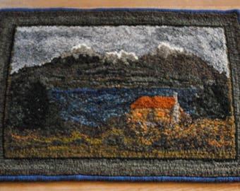 "Hand Hooked Wool Rag Rug - Mountain Cabin - 21"" x 31"""