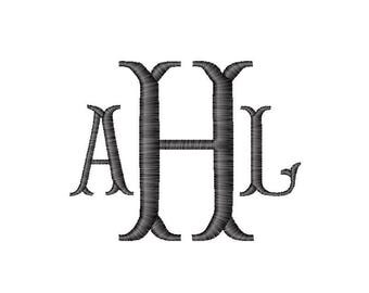 Fishtail Embroidery Monogram Font, Custom Made Design with your Letters