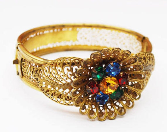 Art Deco Nouveau Gold  Filigree Flower Bracelet - colorful  Rhinestone  - gold plated open work - Sliding Hinged Bangle
