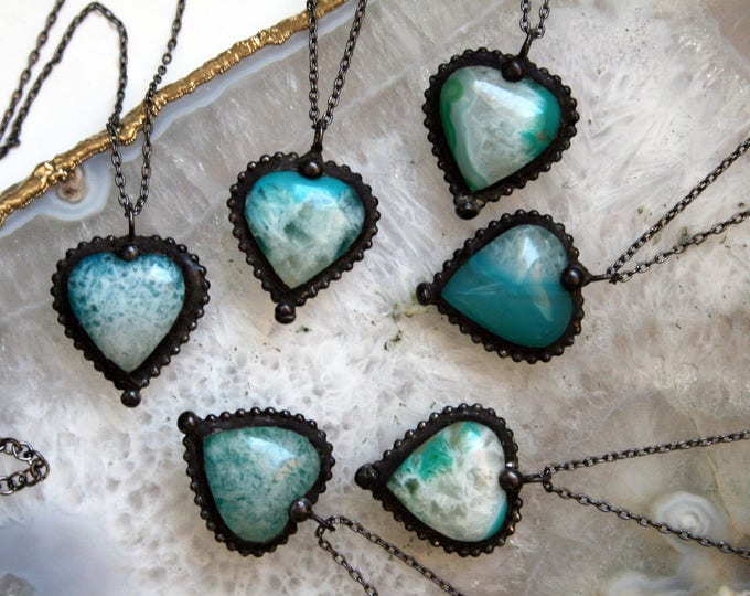 Aqua Agate Heart Crystal Necklace