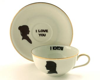 SALE Valentines Day Gift, Star Wars, Han Solo Leia, I love You, Wedding Gift, Vintage Porcelain Coffee Tea Cup, Altered Art, Anniversary