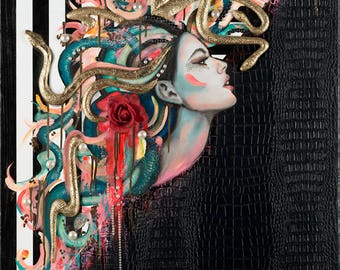 "Medusa-Remix, Original Painting, 30""x40"" Mixed Media on Canvas: Oil, clay, gold leaf and vinyl."
