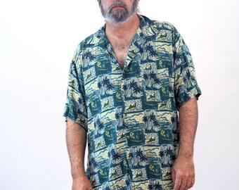 90s Rayon Aloha Shirt, Palm Tree Print Hawaiian Shirt, Swordfish Print Shirt, Deep Sea Fishing Shirt, Island Shirt, Cruise Shirt, XXL