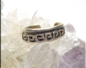 Greek Key Toe Ring in Sterling Silver