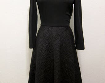 Beautiful Late 40s - Early 50s Black Dress with Quilted Skirt - small