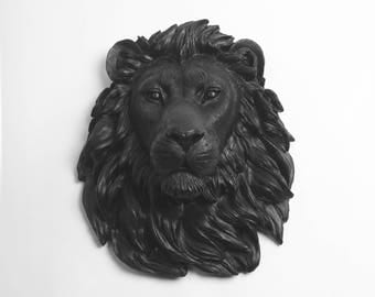 Safari Decorations Large Faux Resin Lion Head - Faux Taxidermy - The Alvina - Black Resin Lion Head- White Faux Taxidermy Trendy Decorations