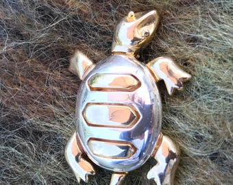 Vintage turtle brooch, silver and gold tone metals, large, 1970's era
