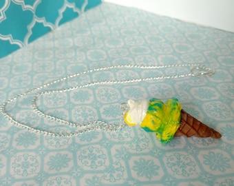 Lemon-Blue Raspberry Sorbet Ice Cream Cone Necklace