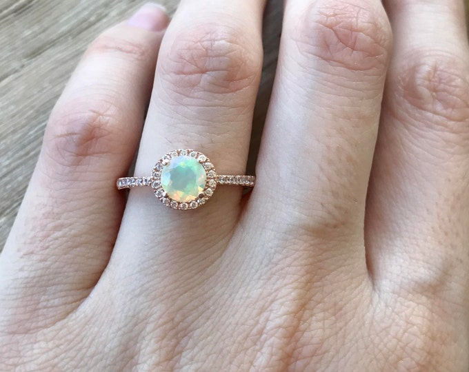 Featured listing image: Opal Engagement Ring- Rose Gold Halo Ring- Opal Promise Ring for Her- Round Genuine Opal Ring- Classic October Birthstone Ring