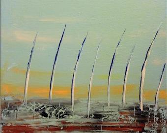"ORiGiNAL 12 x 12 Landscape ABSTRACT   -""Surf and Sails""  original Acrylic Paint on canvas   -   12"" X 12""   (# 17-9160)"