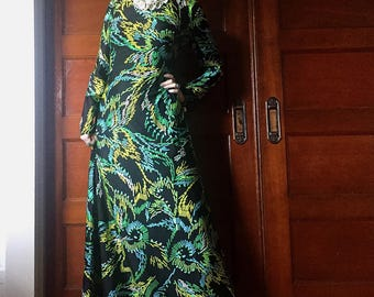 1960's Maxi Dress by Alfred Werber - Vintage 60's Long Bold Print Black and Green Dress with High Collar - Size L