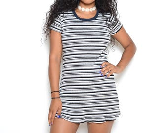 Vintage 90's Striped T-Shirt Mini Dress Sz S