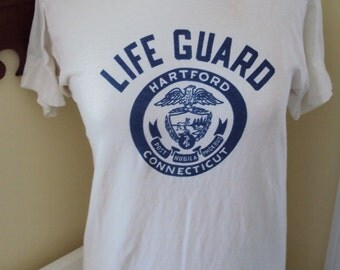 Hartford, CT lifeguard, cotton t shirt, c. 1960's, size Small men's or Medium women's