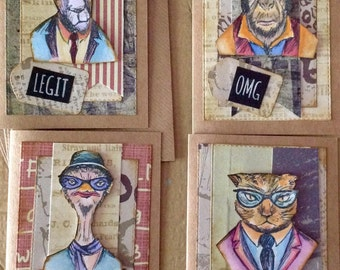 Handpainted Hipster Blank Cards Set Cat Goat Monkey chick Greeting Cards Funny Mixed Media Men Male Cards