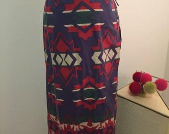 VINTAGE RALPH LAUREN WRaP Skirt, American Indian Print, Malaysia Label, Street Style, Maxi Skirt, Ralph Lauren Maxi at Ageless Alchemy
