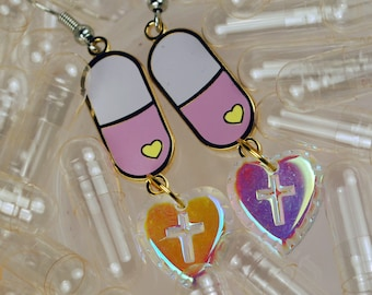 Pick Me Up and Let Me Down Menhera Pill with Heart Earrings