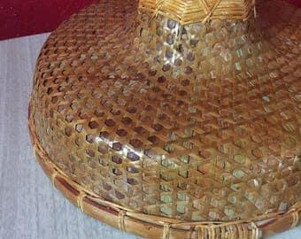 Vintage Woven Straw & Bamboo Umbrella Hat