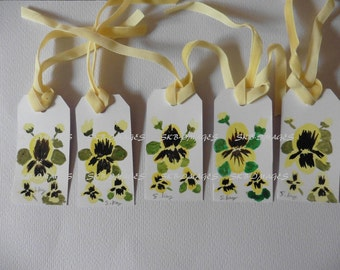 Gift Tags- Yellow Pansies, Watercolor Paintings, miniature paintings, floral paper craft, set of 5, hand painted, Fine Art Watercolor