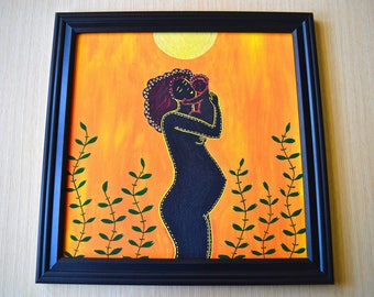 African Mother & Child I • 12x12 Print
