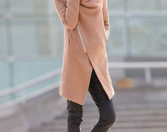 wool coat, winter jackets, jacket, coat, winter coat, womens coats, Asymmetrical coat, midi coat, brown coat C176