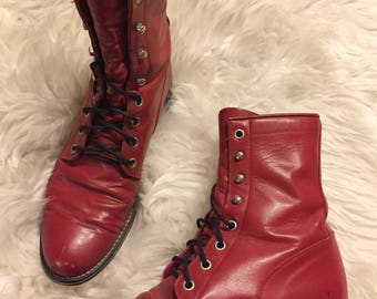Red Leather Lace-Up Boots - Size EU 37