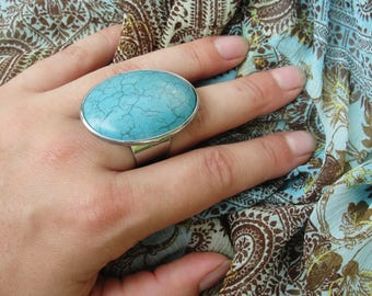 Bohemian Turquoise Statement Ring - Gypsy Gemstone Jewelry