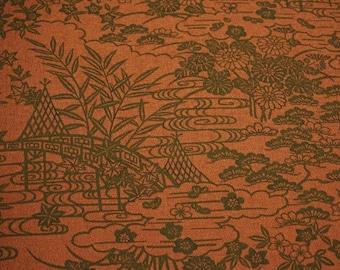 Brown Chayatsuji Vintage Japanese Tango chirimen silk kimono fabric