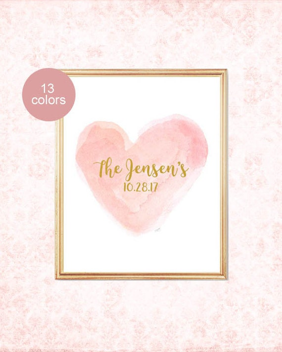Wedding Gift for Couple; Married Name and Wedding Date Print, 8x10