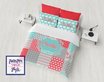 patchwork custom bedding comforter or duvet bedding aqua coral and gray monogrammed bedding