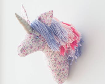 Free shipping US & Canada Faux taxidermy small off white, purple and pink  unicorn head wall decor Hunting Trophy animal head, rainbow mane