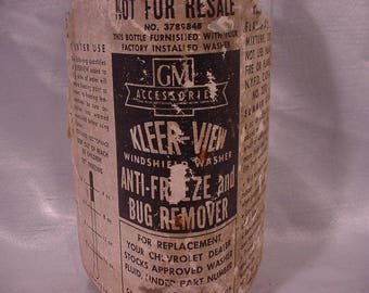 Antique Auto Windshield Cleaner Bottle, GM Kleer View