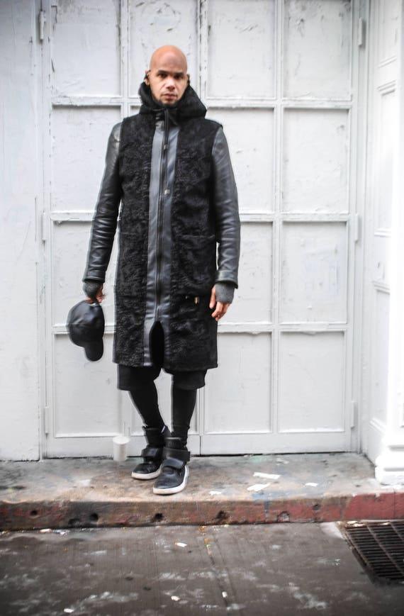 Faux Persian Lamb Fur/ Faux Leather Trim Sleeveless Zipper Front Tunic Vest