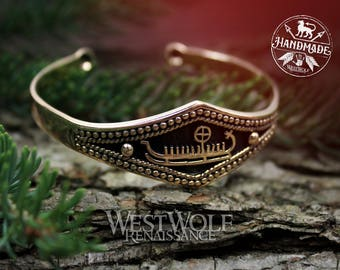 Viking Longship Bracelet for an Ocean Raider --- Norse/Bangle/Torc/Odin/Medieval/Celtic/Jewelry/Gold/Bronze