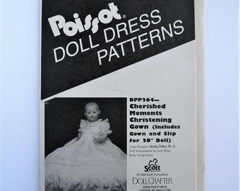 "Poissot DPP264 Cherished Moments Christening Gown and slip for 20"" baby doll. Scott Publications 1998. Heirloom sewing pattern destash."