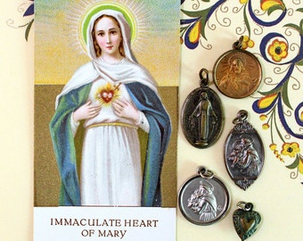 5 Vintage Religious Charms*Religious Medals*Patron Saint, Mary, Jesus, Prayer Card