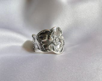 Virgo Spoon Ring Poppy Flower Spoon Ring Sterling Silver Symbolic of Beauty Magic and Inspiration