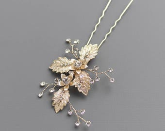 Gold Floral Bridal Hair Pin, Gold Wedding Hair Pin, Gold Bridal Hair Accessory, Gold Bridal Hair Pin, Hair Pins for Wedding, Bride - 7009