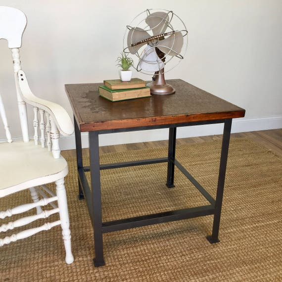 Vintage Industrial Table - Industrial Style Furniture - Rustic End Table - Vintage Metal Table - Rustic Side Table - Hipster Furniture