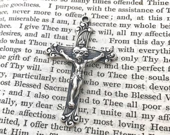 Crucifix - Sacred Heart of Jesus - STERLING SILVER - Vintage Replica - Made in the USA
