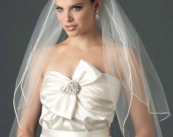 Satin Corded Veil, 2 Layer Veil, Veil with Blusher, Wedding Veil, Bridal Veil, Tulle Veil, White Veil, Ivory Veil,Diamond White Veil ~VB-403
