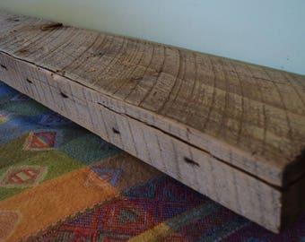 "Reclaimed Wood Fireplace Mantel 57"" x 8"" x 3"" Shelf Mantle Shelving Barnwood Barn Beam Driftwood Gray Rustic Antique 1800s"