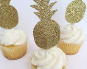 Cupcake topper, gold glitter cupcake topper, pineapple party, baby shower, tropical party, birthday party, gold pineapple, cupcake topper