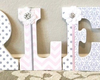 Nursery letters, pink and gray nursery decor,pink and grey nursery wall letters, personalized baby name art, The Rugged Pearl