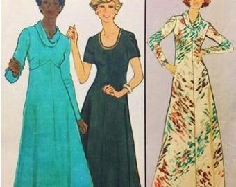 70s Simplicity 8253 Jiffy Plus Pattern Cowl Neck Empire Waist Dress or Maxi PLUS Sz 16 1/2 Uncut FF Vintage Career Dress Sewing Patterns