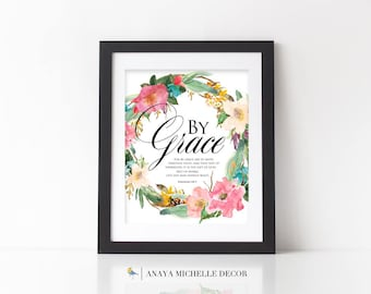 Ephesians 2:8-9 Scripture Wall Art Christian Home Decor / By Grace / Gospel Verse / Bible Verse / Watercolor Floral INSTANT DOWNLOAD