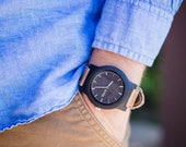 Real WOOD Minimalist Watch - Made from Sandalwood and Calfskin Leather Strap - BRLY-L